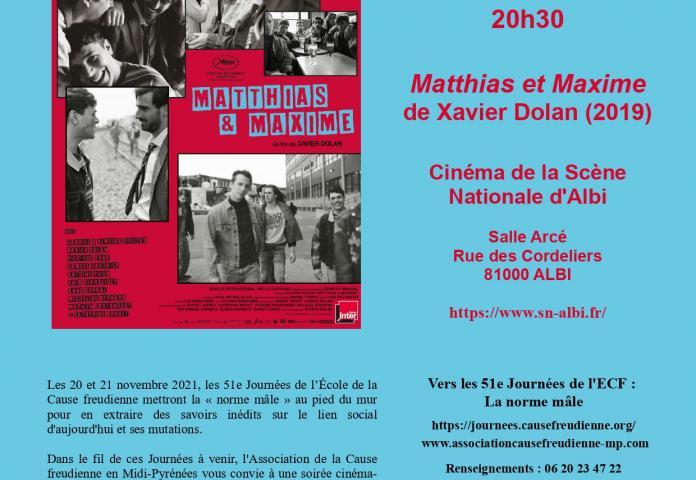 Soirée Ciné-débat - Matthias et Maxime de X.Dolan - jeudi 7 octobre 2021